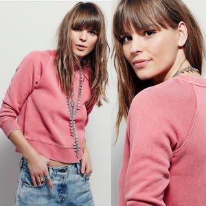 Free People cropped vintage wash pink sweatshirt